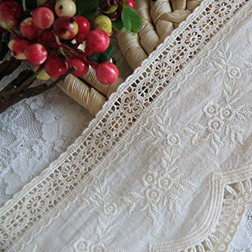 Beige 3 Yards 4 Inches Wide Rayon Embroidered Cotton Lace Dress Lace Trim Fabric Ribbon Curtain Accessory Craft Lace (Curtain Cotton Lace)