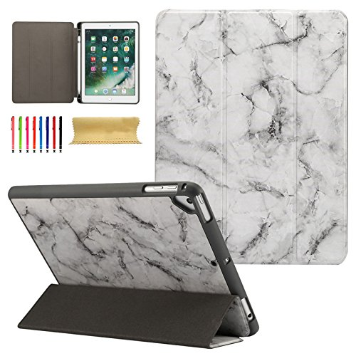 iPad 9.7 2017 Case, New iPad 9.7 2018,iPad Pro 9.7,iPad Air 1/Air 2 Case, Coopts Marble PU Leather Magnet Case Cover with Pen Holder for Apple iPad 6th / 5th Gen, iPad Air 1/2, iPad Pro 9.7, Black by Coopts