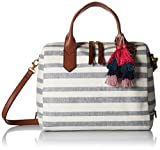 Fossil Fiona Satchel Handbag, Blue Stripe,One Size
