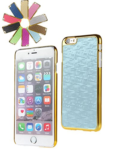 Bralexx 6234Gold-6225Hellblau-KARO Smartphone Case passend für Apple iPhone 6 Plus 13,9 cm (5,5 Zoll) gold/hellblau-Karo