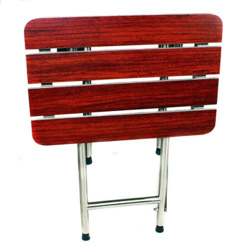 (CSI Bathware SEA-SD2216-NH-PW ADA Bathroom Shower Bath Seat, Folding, Wall-Mounted, Rectangular, Phenolic Wood Seat, 22-Inch by 16-Inch)