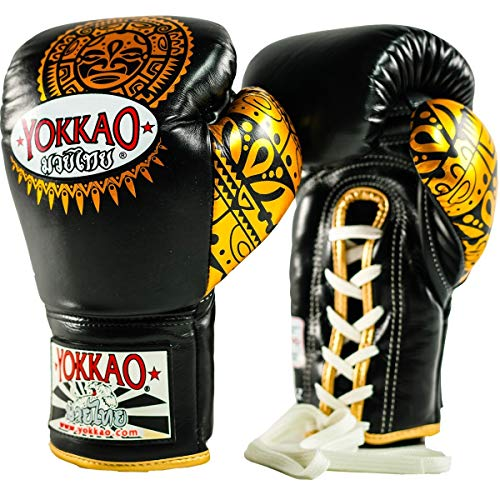 YOKKAO Muay Thai Lace Up Boxing Gloves, Kickboxing, Sparring Training Gloves, Black and Gold - 12 oz ()