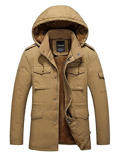 3XL Hombres Menschwear de de Capucha Forrado S Chaqueta Invierno con Pluma Chaqueta Beige Vellón 7qdrxp6q