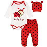 Lilax Baby Girl Fun Unique Soft Cotton Bodysuit, Cap, and Pant Layette 3 Piece Gift Set 3M Lady Bug