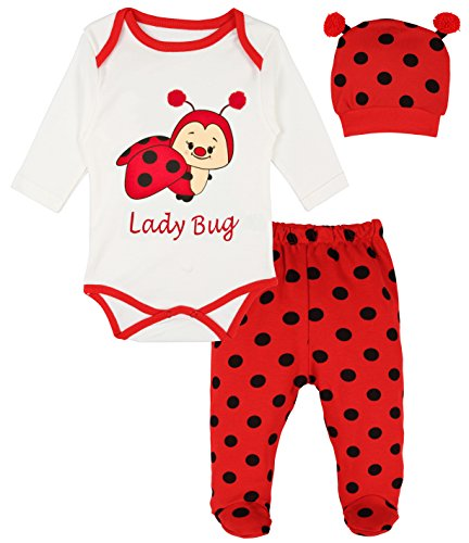 Lilax Baby Girl Fun Unique Soft Cotton Bodysuit, Cap, and Pant Layette 3 Piece Gift Set 3M Lady Bug (Birthday Store Near Me)