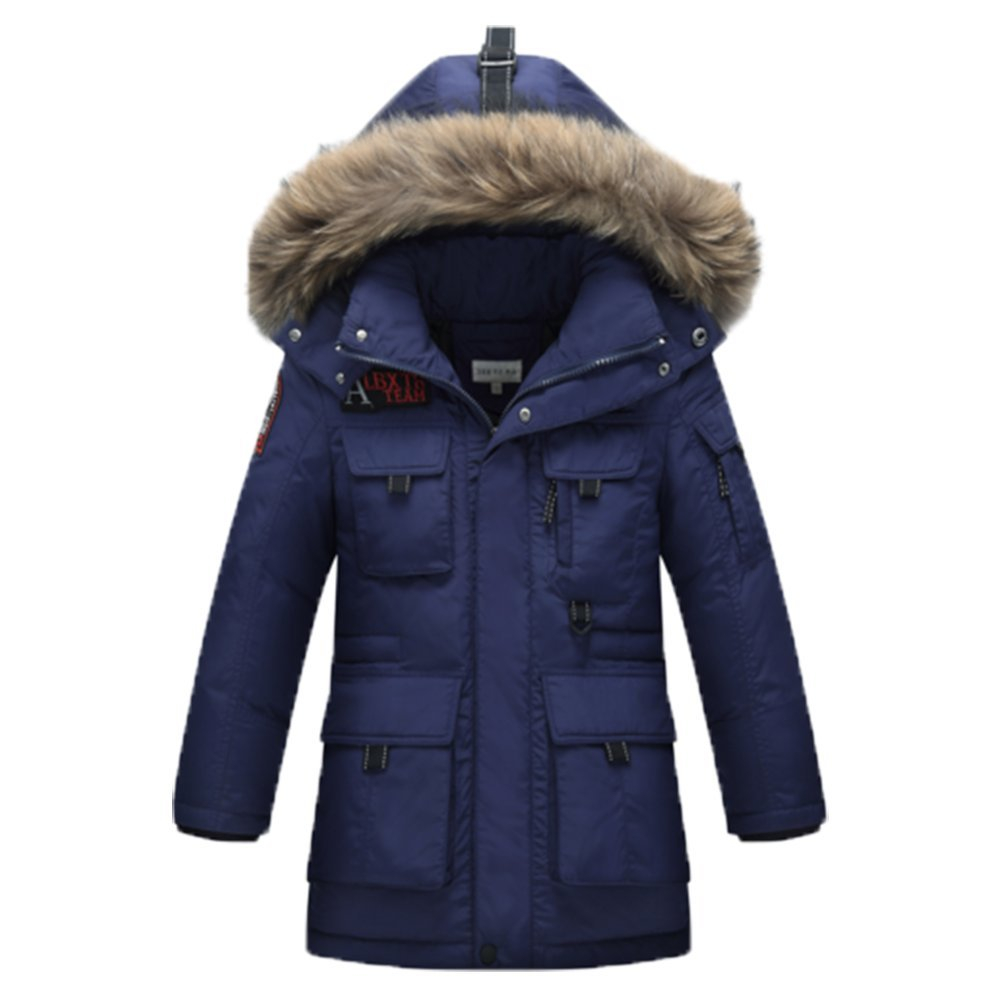 Marine 170cm OHmais Unisexe enfant garçon fille veste d'hiver hommeteau à capuche