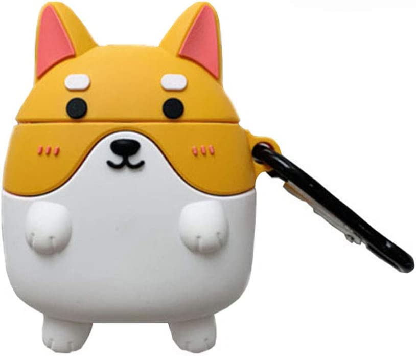 Cute Corgi AirPod Case with keychain AirPods Pro case Protective Shockproof Name Cute Airpods Case Funny Hard Silicone a15