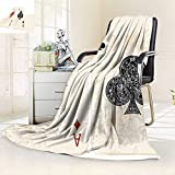 vanfan All-Season Super Soft Blanket Ace Diamonds Clubs Poker Cards Game Grunge Gambling Fortune Illustration Cream Red,Silky Soft,Anti-Static,2 Ply Thick Blanket. (80''x60'')