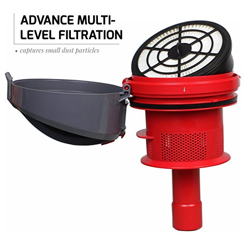 Ovente ST2620R Cyclonic Vacuum Filter Includes Bendable Multi-Angle, Nozzle/Bristle Brush, Retractable Cord – Featherlite –