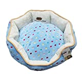 Cheap Leepets Polka Dot Round Pet Bed for Small Dog and Cat with Washable Removable Cushion Soft Plush Warm Donut Cuddler Waterproof Non Slip Bottom Puppy Bed, (Blue, 22.5 Inch)