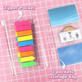 2 Pack A6 Refill Paper, 80 Sheets/Pack, 2Pcs Binder Pockets A6 Size 6 Holes, 2 Pack 160 Pieces Neon Index Tabs, 1 Pcs Ruler Clear Page Marker, LEOBRO A6 6 Holes Refillable Lined Craft Paper Set