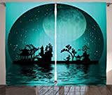 Ambesonne Asian Decor Collection, Asia Landscape with Moon Stars Night Sky Holiday Festival Artistic Design, Living Room Bedroom Curtain 2 Panels Set, 108 X 84 Inches, Dark Teal Black