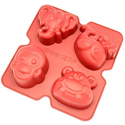 Monkey Bread Baking Mold (Freshware CB-902RD 4-Cavity Fun Shape Silicone Mold for Homemade Soap, Jello, Pudding, Cake, and More)