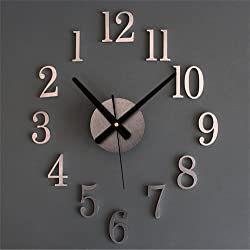 Modern 3D Frameless Large Wall Clock Watches DIY Design Room Home Decorations Silver