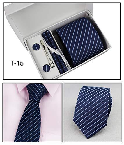(QXINGIA Men's Stripe Business Tie Set Classic Formalwear Necktie Cufflink Handkerchief Tie Clips Gift Box Set,Stripe2)