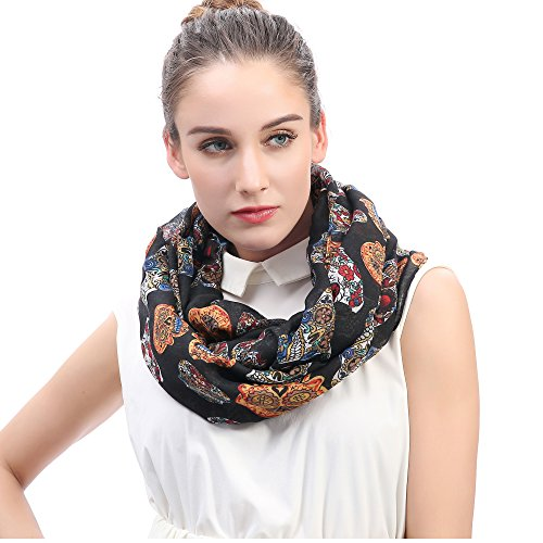 Lina & Lily Day of the Dead Sugar Skull Print Women's Infinity Scarf Lightweight (Black) -