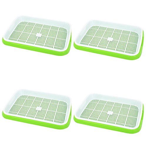 Seed Sprouter Trays, RAVPump 4 Pcs Soil-Free Seedling Germination Tray Double Layer Kitchen Crop Nursery Hydroponics Basket (Green + White) -