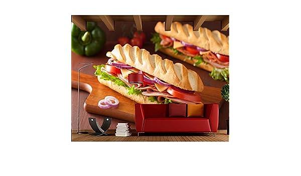 Pmhhc Mural Pan Sandwich Jamón Tomates Comida Papel Tapiz 3D ...