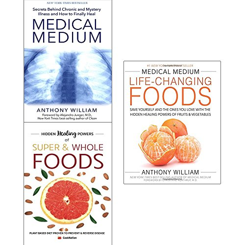 Book cover from Medical medium anthony william collection with hidden healing powers 3 books set (medical medium [paperback], medical medium life-changing foods [hardcover], super and whole foods) by Anthony William