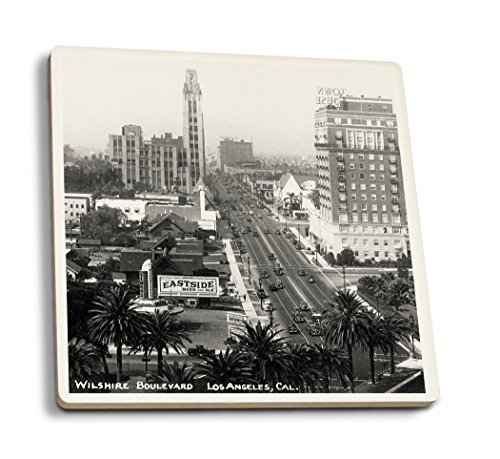 Lantern Press Los Angeles, California - Aerial View of Wilshire Boulevard - Vintage Photograph (Set of 4 Ceramic Coasters - Cork-Backed, Absorbent) ()