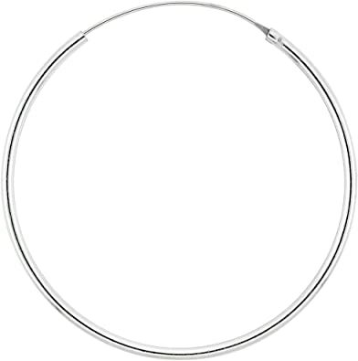 1 3//4 Inch Polished Square Hoops Sterling Silver 3mm 45mm
