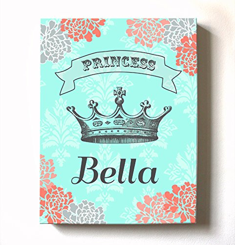 Girls Personalized Princess Canvas Wall Decor - Crown & Floral Children's Nursery Theme - Great For Baby Shower Art Gifts - For Bedrooms & Playrooms - Choose From Designer Colors & Sizes