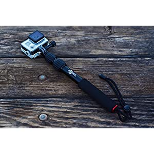 ActionSports Pole 'ELITE' 9 - 19 inch Compact Edition Aluminum Waterproof Telescoping Extension Monopod GoPro Pole for GoPro Hero 6 Black 5 Black, 4, 3+, 3, 2, 1, Session and Action Cameras