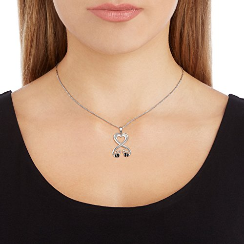 925 Sterling Silver Double Bees Infinity Love Heart Pendant Necklace for Girlfriend, 18'' by SILVER MOUNTAIN (Image #3)