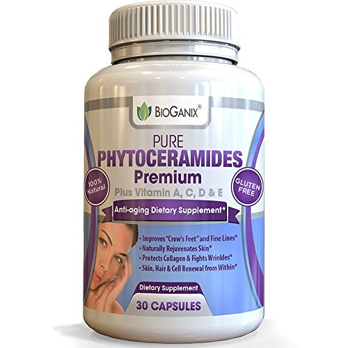 BioGanix Natural Phytoceramide Capsules Supplement For Skin /w Vitamins A, C, D & E (Plant Derived Rice Ceramide-PCD ) Anti-Aging and Skin Tightening Support