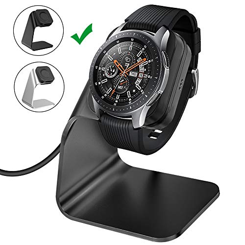 CAVN Compatible Samsung Galaxy Watch 42mm 46mm Gear S3 Charger Dock Stand, Replacement Aluminum Charging Cable Cord Station Cradle Base 4.2ft USB Accessory Compatible Galaxy Watch Smartwatch (Black)