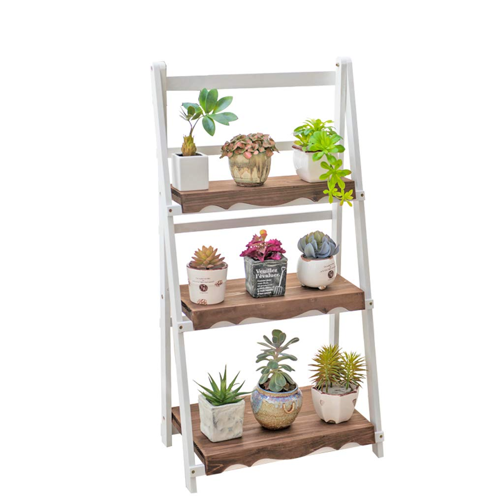 WYY White Length 50cm Retro Balcony Living Room Indoor Flower Pot Rack European Solid Wood Multi-Layer Flower Stand by WYY