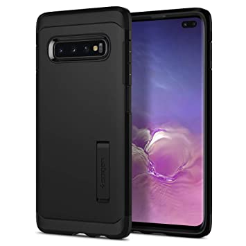 Spigen Funda Compatible con Samsung Galaxy S10 Plus/ S10+ Tough Armor con Kickstand y Certificado de Extrema protección - Negro