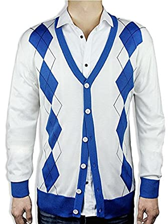 Blue Ocean Argyle Sweater Cardigan-Off White-2X-Large at Amazon ...