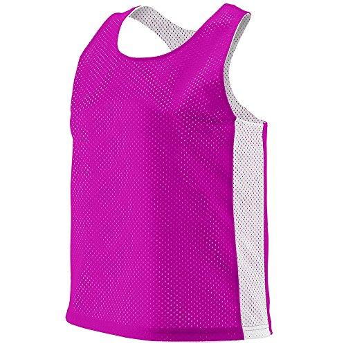 (Augusta Sportswear 968.468.L/XL Women's Reversible Tricot Mesh Lacrosse Tank, Power Pink/White, Large/X-Large Pack)