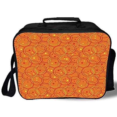 Insulated Lunch Bag,Burnt Orange,Circle Patterns in Fashion Trend Colors on Retro Dotted Background Decorative,Orange Yellow,for Work/School/Picnic, Grey