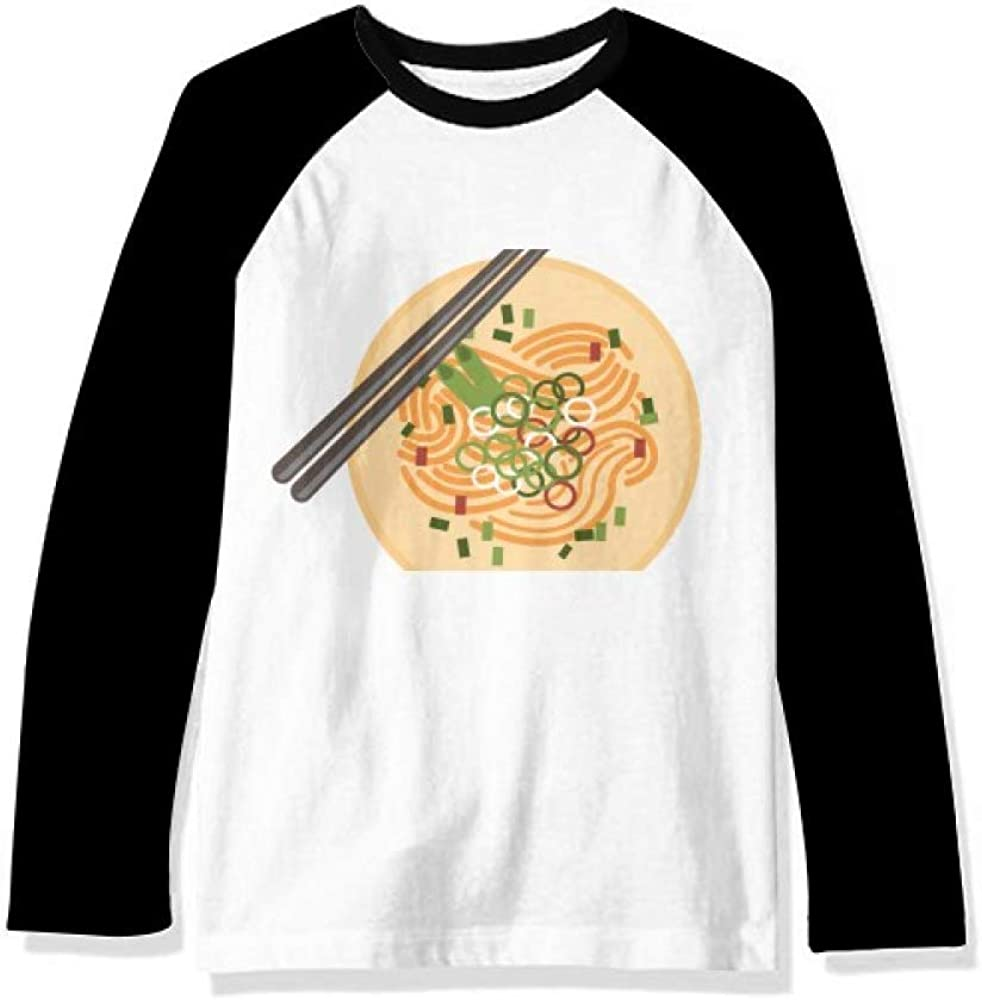 Chinese Dish Noodle Delicious Food Pattern Long Sleeve Top Raglan T-Shirt Cloth