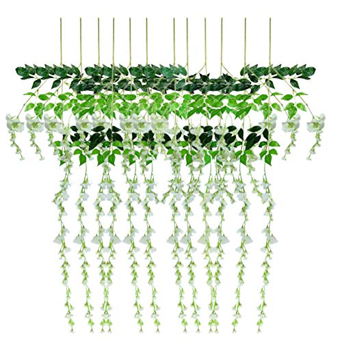 Miss Bloom Artificial Wisteria Vine - 12-Pack 3.6 Ft Spring Hanging Flowers Décor | Silk Plants Garlands for Sweet Home Kitchen Wall |Fake Plant Rattan for Outdoor Wedding Party Decorations (White) -