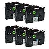 Greencycle 6 PK Compatible TZ231 TZe231 TZ-231 Label Tape 12mm Black on White for Brother P-Touch Printers - 12mm wide * 8m Length 1/2