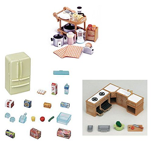 3 Different Sets - Kitchen Theme - Cooking, Kitchen Cabinet and Refrigerator Sets (Japan (Calico Critters Kitchen Furniture)