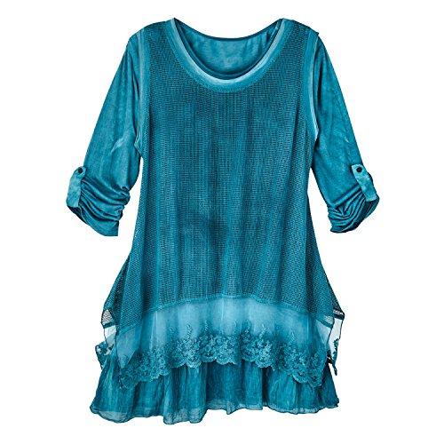 Women's Tunic Top - Jade Mesh Overlay Layered Long Sleeve Blouse - 3X