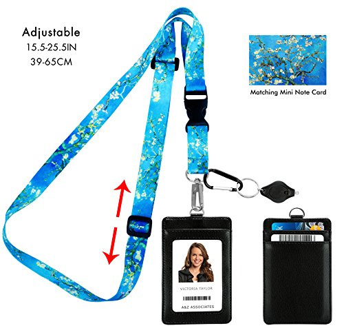 Van Gogh Almond Blossom Adjustable Lanyard with PU Leather ID Badge Holder with 3 Card Pockets & Matching Note Card. Carabiner Keychain Flashlight. Adjustable 15.5