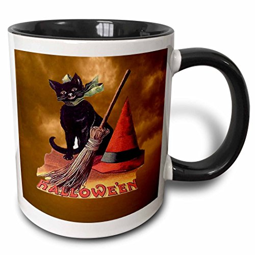3dRose Sandy Mertens Vintage Halloween Designs - Vintage Halloween Black Cat - 11oz Two-Tone Black Mug (Pic Of Halloween Cat)
