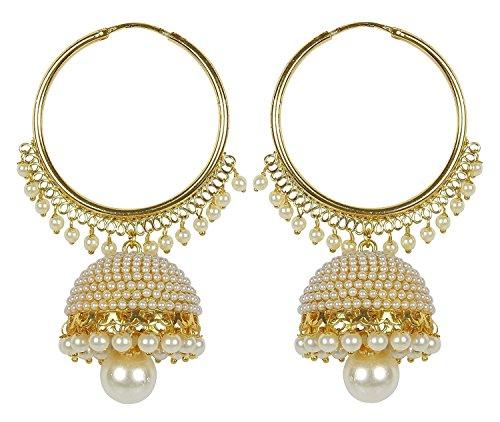 Royal Bling Trendy Stylish Fancy Party Wear Golden pearl Minakari Jhumki/Jhumka Earrings for Girls and Women