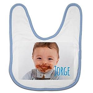 Babero Bebé Personalizado con tu Foto/Imagen/Nombre/Texto | Regalos Bebés Recién Nacidos Azul 20