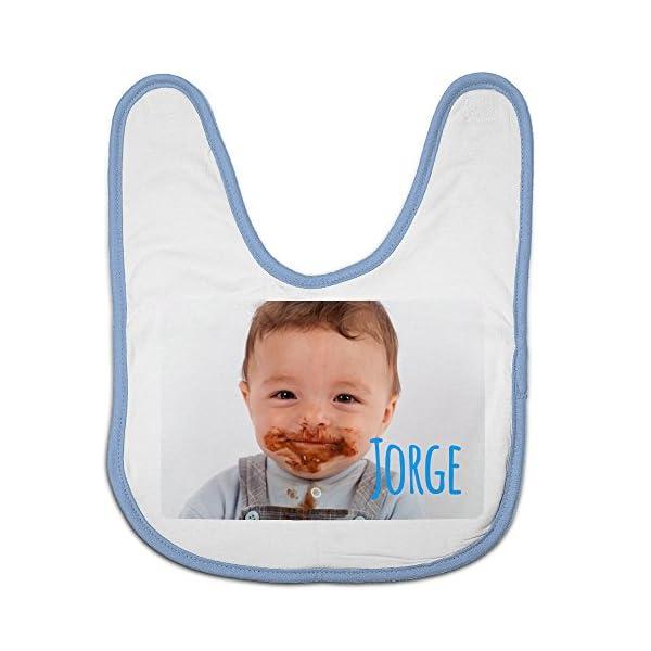 Babero Bebé Personalizado con tu Foto/Imagen/Nombre/Texto | Regalos Bebés Recién Nacidos Azul 2