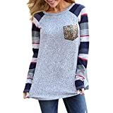 Kumike Fashion Women Casual Striped Patchwork O-Neck Long Sleeve Sequined Pocket Top Blouse