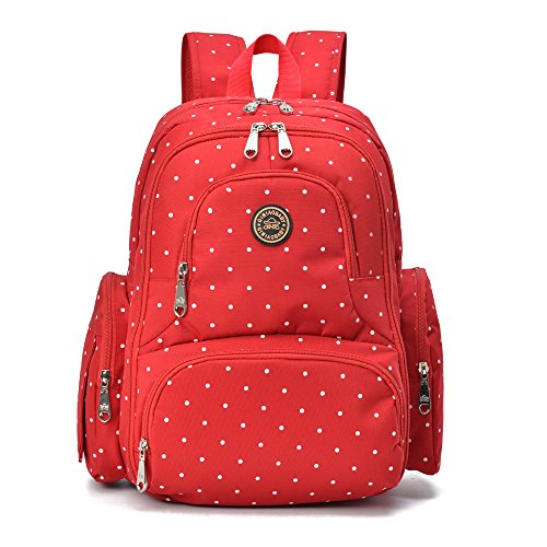 Qimiaobaby Multi-Function Baby Diaper Bag Backpack with Changing Pad and Portable Insulated Pocket (Red dots)
