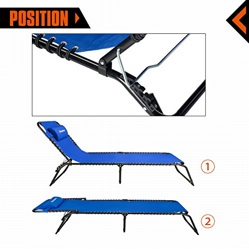 KingCamp Patio Lounge Chair Chaise Bed 3 Adjustable Reclining Positions Steel Frame 600D Oxford Folding Camping Cot with Removable Pillow for Camping Pool Beach Supports 300lbs by KingCamp (Image #3)