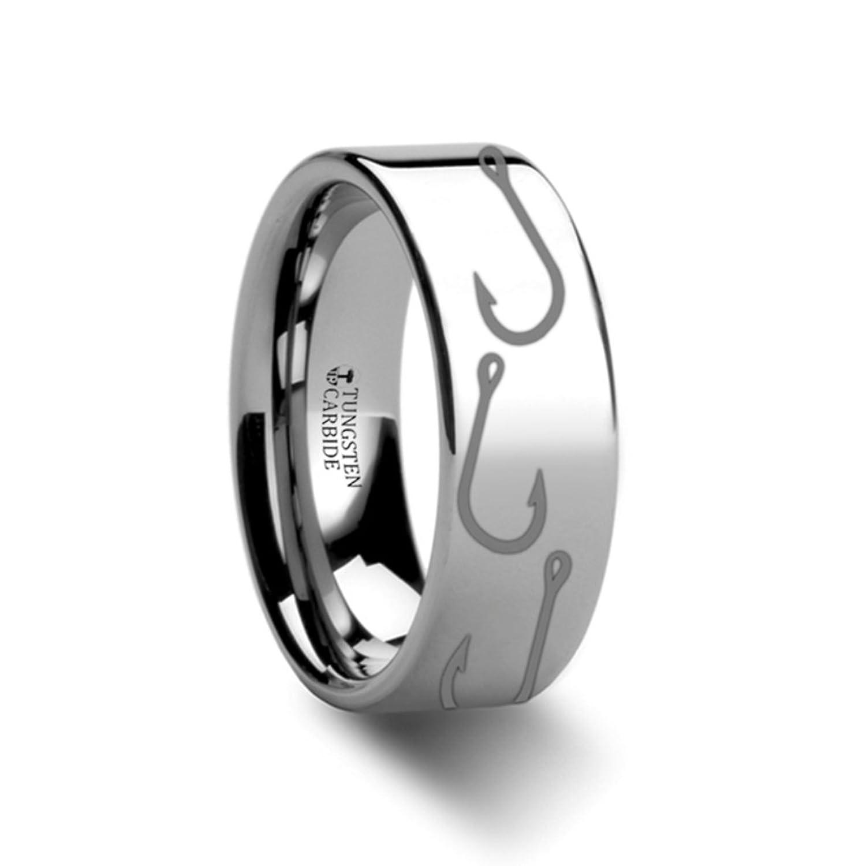 Tungsten Carbide Ring Fishing Hook Pattern Engraved Flat Design 12mm Band