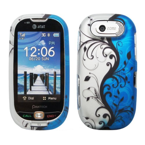 Design Rubberized Hard Case (Silver Black Blue Vine Flower Stripe Rubberized Design Snap on Hard Cover Protector Faceplate Cell Phone Case for AT&T Pantech Ease P2020 2020 + Free Wrist Band (Ship in Cardboard)